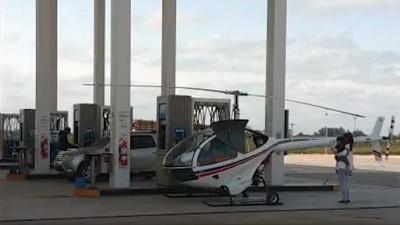 Helicóptero aterrizó y cargó combustible en estación de servicio entrerriana