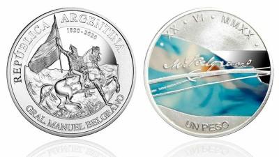 Moneda de plata conmemora el Bicentenario del Paso a la Inmortalidad de Belgrano