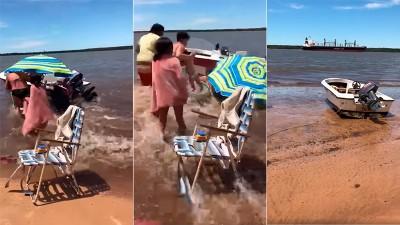 Pudo ser una tragedia: el oleaje por el paso de un buque arrastró embarcaciones