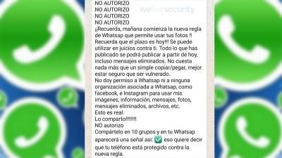 Falso mensaje hace creer que es posible evitar cambios en políticas de WhatsApp