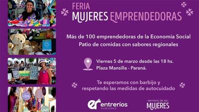 Este viernes se realizará una nueva edición de la Feria Mujeres Emprendedoras de la economía social