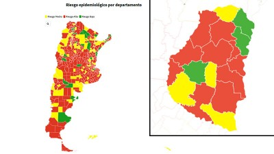 Riesgo epidemiológico: son 159 departamentos en rojo y se suman en Entre Ríos