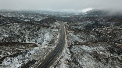 Nevó en Altas Cumbres de Córdoba y cerraron camino por hielo sobre el asfalto