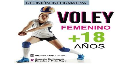 Vóley Femenino +18: Convocatoria para interesadas