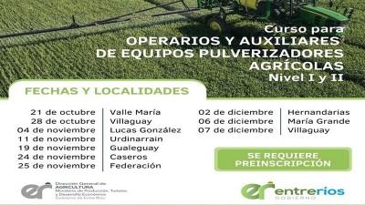 Se dictará un curso para Operarios y Auxiliares de Equipos Pulverizadores Agrícolas